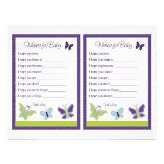 """""""Beautiful Butterfly"""" Wishes For Baby Sheet 21.5 Cm X 28 Cm Flyer"""