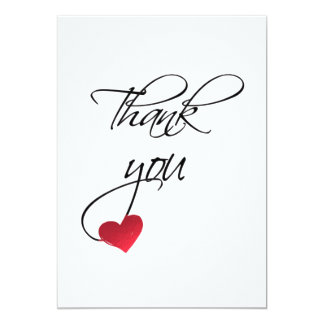 Beautiful Calligraphy Red Heart Wedding Thank You Card