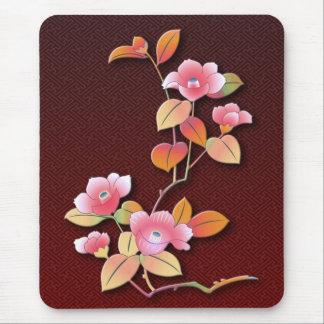 Beautiful camellia branch mouse mat