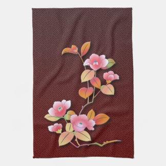 Beautiful camellia branch tea towel