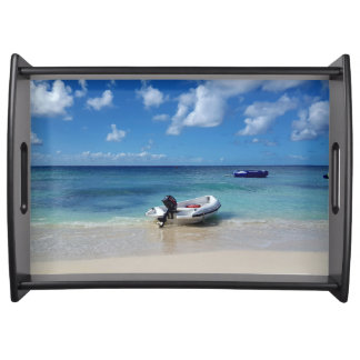 Beautiful Caribbean Beach with Docked Boat Serving Tray