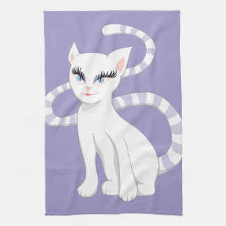 Beautiful Cartoon White Cat Tea Towel