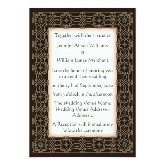 Beautiful Celtic Knot Border Wedding Invitations