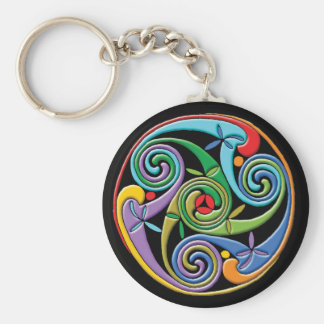 Beautiful Celtic Mandala with Colorful Swirls Basic Round Button Key Ring