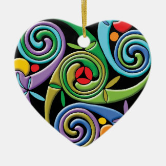 Beautiful Celtic Mandala with Colorful Swirls Ceramic Heart Decoration