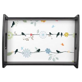 Beautiful Ceramic & Wood Birds & Flowers Tray