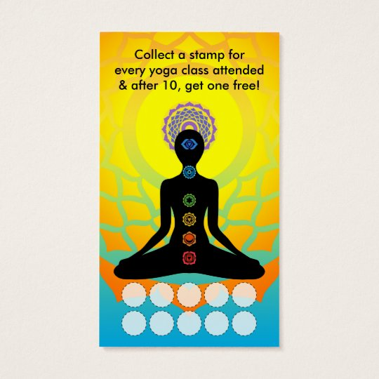 beautiful chakras yoga loyalty program business card