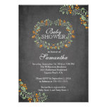 Beautiful Chalkboard Floral Frame Baby Shower Invitations