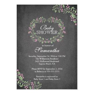 "Beautiful Chalkboard Floral Frame Baby Shower 5"" X 7"" Invitation Card"