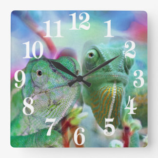 Beautiful chameleons square wall clock