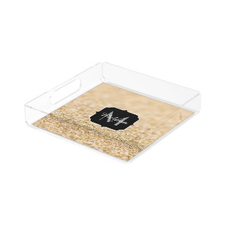 Beautiful champagne gold glitter sparkles Monogram Acrylic Tray