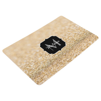Beautiful champagne gold glitter sparkles Monogram Floor Mat