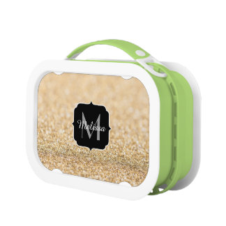 Beautiful champagne gold glitter sparkles Monogram Lunchboxes