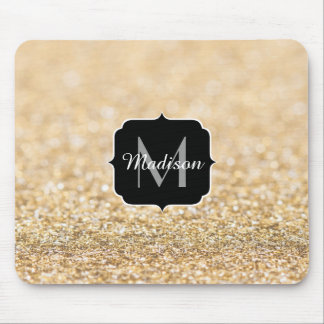 Beautiful champagne gold glitter sparkles Monogram Mouse Mat