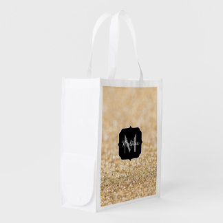 Beautiful champagne gold glitter sparkles Monogram Reusable Grocery Bag