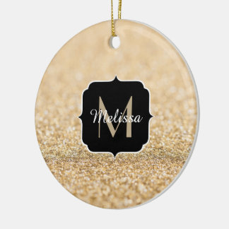 Beautiful champagne gold glitter sparkles Monogram Round Ceramic Decoration