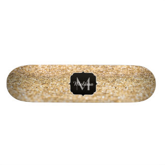 Beautiful champagne gold glitter sparkles Monogram Skate Boards
