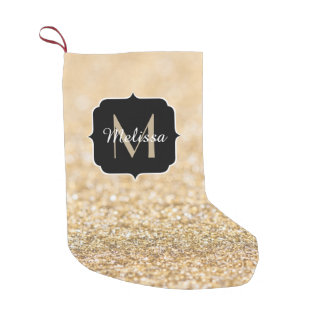 Beautiful champagne gold glitter sparkles Monogram Small Christmas Stocking