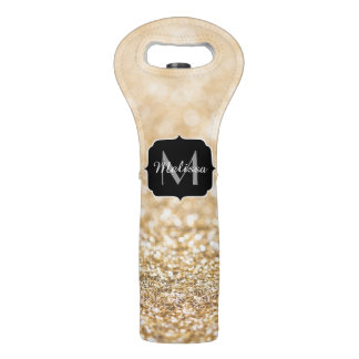Beautiful champagne gold glitter sparkles Monogram Wine Bag