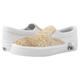 Beautiful champagne gold glitter sparkles slip on shoes