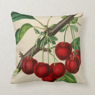 Beautiful Cherries Fruit Polyester Throw Pillow