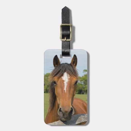 Beautiful chestnut horse head photo luggage tag
