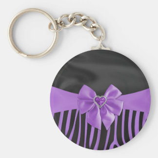 Beautiful chic elegant silk fabric effects zebra basic round button key ring