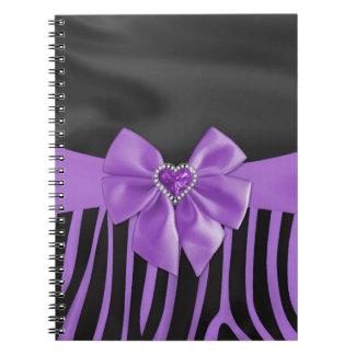 Beautiful chic elegant silk fabric effects zebra notebooks