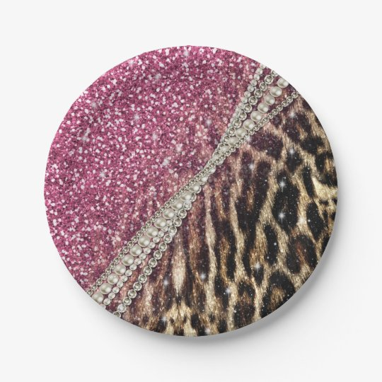 Beautiful chic girly leopard animal faux fur print 7 inch paper plate