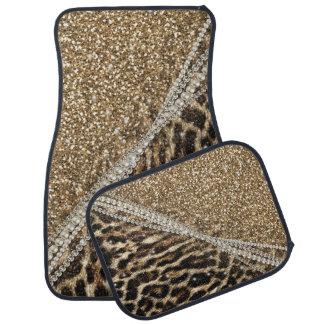 Beautiful chic girly leopard animal faux fur print car mat