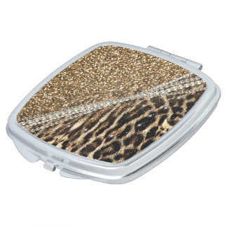Beautiful chic girly leopard animal faux fur print compact mirrors