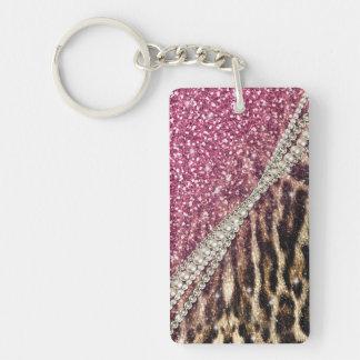 Beautiful chic girly leopard animal faux fur print Double-Sided rectangular acrylic key ring