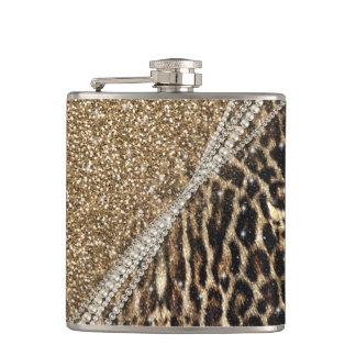 Beautiful chic girly leopard animal faux fur print hip flask