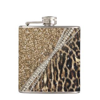 Beautiful chic girly leopard animal faux fur print hip flasks