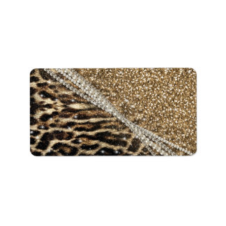 Beautiful chic girly leopard animal faux fur print label