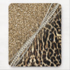 Beautiful chic girly leopard animal faux fur print mouse mat