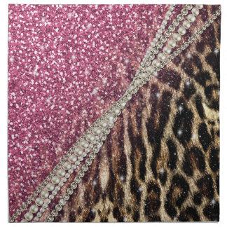 Beautiful chic girly leopard animal faux fur print napkin