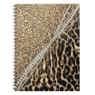 Beautiful chic girly leopard animal faux fur print notebooks