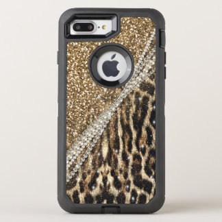 Beautiful chic girly leopard animal faux fur print OtterBox defender iPhone 8 plus/7 plus case