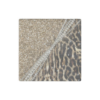 Beautiful chic girly leopard animal faux fur print stone magnet