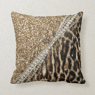 Beautiful chic girly leopard animal faux fur print throw pillow
