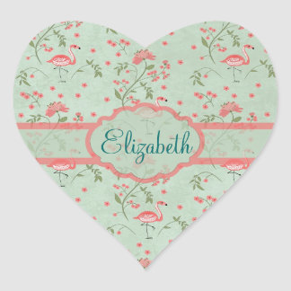 Beautiful chic vintage spring floral and flamingo heart sticker