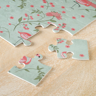 Beautiful chic vintage spring floral and flamingo jigsaw puzzle