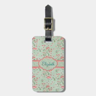 Beautiful chic vintage spring floral and flamingo luggage tag