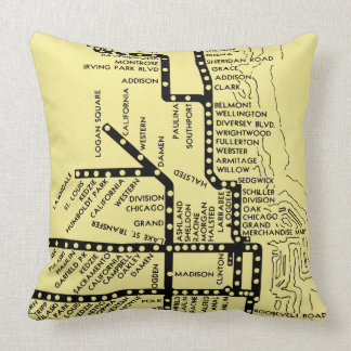 Beautiful Chicago Pride Subway Train Stops Vintage Cushion