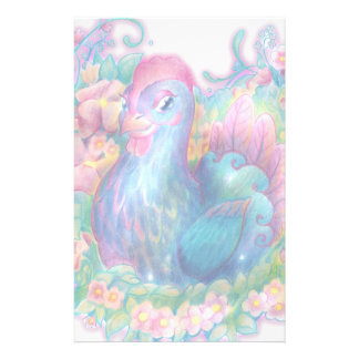 Beautiful Chicken and Flowers Stationery