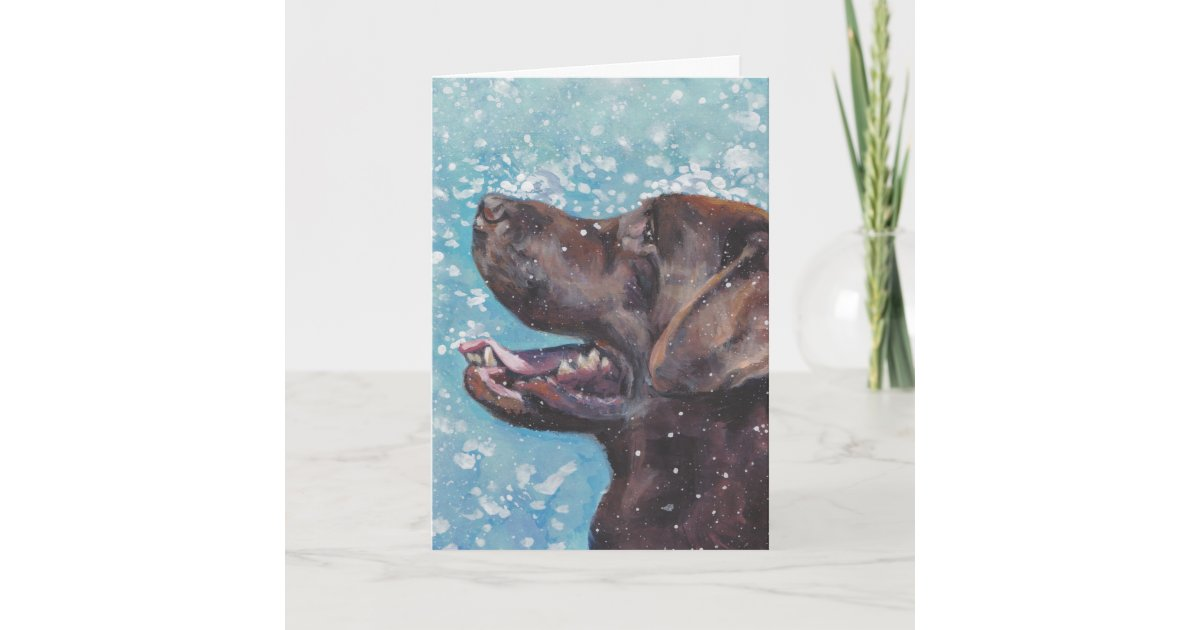 Beautiful Chocolate Lab Labrador Retriever Art Holiday Card Zazzle