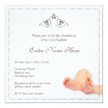 "Beautiful christening/baptism invitation wit baby 5.25"" square invitation card"