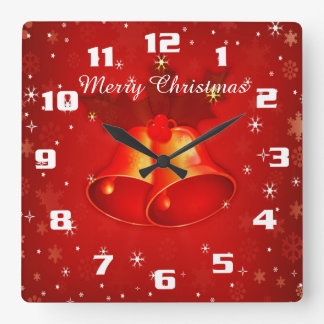 Beautiful Christmas Bells Merry Christmas Square Wall Clock