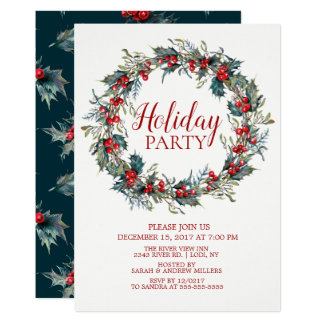 Beautiful Christmas Bird Holiday Party Invitation